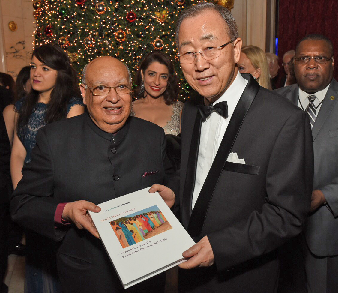 Lord Loomba and UN Secretary-General Ban Ki Moon with the World Widows Report